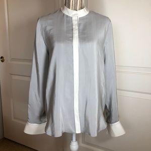 Frame Grey 100% Silk, White Cuffed, Band Collar